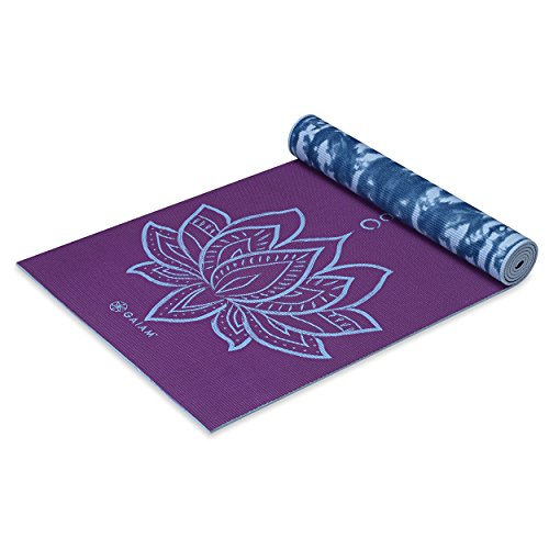 Gaiam Yoga Mat Premium Print Reversible Extra Thick Non Slip Exercise & Fitness Mat for All Types of Yoga, Pilates & Floor Exercises, Purple Lotus, 6mm