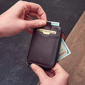 Vaultskin NOTTING HILL Slim Zip Wallet with RFID Protection for Cards Cash Coins (Brown)