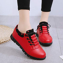 Load image into Gallery viewer, Women's Outdoor PU Leather Athletic Shoes Lace Up Sneaker Casual Flexible Walking Running Shoes (Red, US:5.5)
