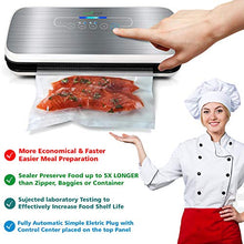 Load image into Gallery viewer, NutriChef Vacuum Sealer | Automatic Vacuum Air Sealing System For Food Preservation w/Starter Kit | Compact Design | Lab Tested | Dry & Moist Food Modes | Led Indicator Lights (Silver)