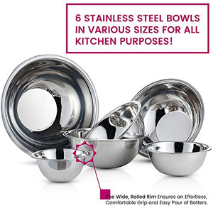 Stainless Steel Mixing Bowls by Finedine (Set of 6) Polished Mirror Finish Nesting Bowl, ¾ - 1.5-3 - 4-5 - 8 Quart - Cooking Supplies