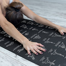 "Load image into Gallery viewer, NewMe Fitness Instructional Yoga Mat, Black, Printed w/ 70 Illustrated Poses, 24"" Wide x 68"" Long, for Women & Men : Non Slip, Eco Friendly PVC, Non Toxic : for Home or Gym : 5mm Thick"