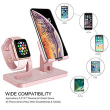 Load image into Gallery viewer, BENTOBEN Cell Phone Stand Compatible with Apple Watch iPhone Android Phone iPad Tablet, Charging Dock Station Holder for iWatch Series 4/3/2/1 iPhone Xs Max XS XR X 8 7 6S 6 Plus SE 5S 5, Rose Gold