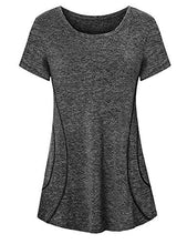 Load image into Gallery viewer, Viracy Yoga Shirt for Women, Juniors Workout Tops Quick Dry Tshirt Short Sleeve Crew Neck Gym Tunic Athleisure Wear Summer Clothes Primary Tennis Active Tees Dressy Running Sports Outfits Black M