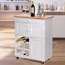 Load image into Gallery viewer, Giantex Modern Rolling Kitchen Trolley Cart w/Drawer & Wine Rack Storage Cabinet Home Restaurant Island Serving Cart w/Wheels (White)