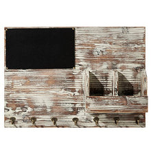 Load image into Gallery viewer, MyGift Torched Wood Wall Mounted Chalkboard Memo Clips, Mail Sorter and Key Hooks, Entryway All-in-One Organizer