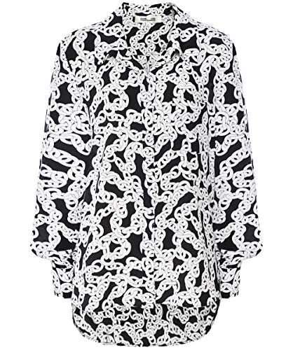 Diane von Furstenberg Women's Silk Carter Chain Print Shirt White US 8