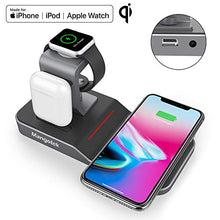 Load image into Gallery viewer, Mangotek Apple Watch Stand Wireless Charger for iPhone and iWatch, 4 in 1 Phone Charging Station with Lightning Connector and USB Port for iPhone 8/X/XR/7/6 and iWatch Series 4/3/2/1, MFi Certified