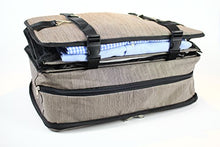 Load image into Gallery viewer, Stow-N-Go Portable Luggage System Suitcase Organizer - Large, GRAY, Packable Hanging Travel Shelves & Packing Cube Organizer