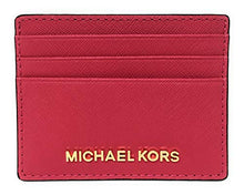 Load image into Gallery viewer, Michael Kors Jet Set Travel Large Saffiano Leather Card Holder (Rubin Red)