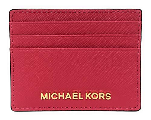 Michael Kors Jet Set Travel Large Saffiano Leather Card Holder (Rubin Red)