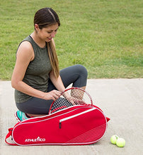 Load image into Gallery viewer, Athletico 3 Racquet Tennis Bag | Padded to Protect Rackets & Lightweight | Professional or Beginner Tennis Players | Unisex Design for Men, Women, Youth and Adults (Red)