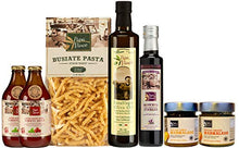 Load image into Gallery viewer, Papa Vince Gourmet Food Gift Set - farm fresh from artisans in Sicily, Italy. Extra Virgin Olive Oil, Balsamic Vinegar, Busiate Pasta, Tomato Sauce, Trapani Sea Salt, Orange & Lemon Marmalade
