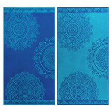 "Load image into Gallery viewer, Superior 100% Egyptian Cotton, 450 GSM, Floral Mandala Oversized Beach Towel (Set of 2) 34""x 64"", 2-Ply, High Absorbency Blue and teal Floral Pattern"