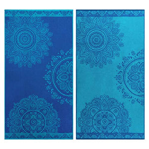 "Superior 100% Egyptian Cotton, 450 GSM, Floral Mandala Oversized Beach Towel (Set of 2) 34""x 64"", 2-Ply, High Absorbency Blue and teal Floral Pattern"