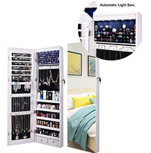 Load image into Gallery viewer, AOOU Jewelry Organizer Jewelry Cabinet, Full Screen Display View Larger Mirror, Lockable Wall Door Mounted, Full Length Mirror, Large Capacity Dressing Mirror Makeup Jewelry Armoire Organizer
