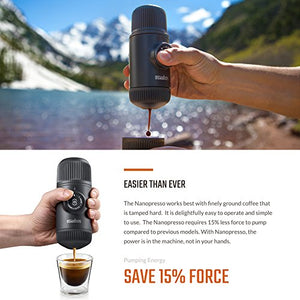 WACACO Nanopresso Portable Espresso Maker bundled with Nanopresso Protective Case, Upgrade Version of Minipresso, 18 Bar Pressure, Extra Small Travel Coffee Maker, Manually Operated