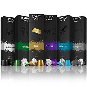 Compatible Capsules for Nespresso OriginalLine Machines - Variety Pack (60 Pods) - By Rosso Caffe