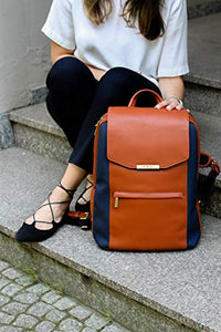 P.MAI 15-Inch Professional Leather Laptop Backpack for Women with Wristlet I Stylish Designer Computer Backpack Purse Ideal for Executives, Business, Travel, Work, Commuter | Cognac