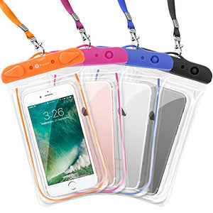 Waterproof Case, 4 Pack Transparent PVC Waterproof Phone Pouch Dry Bag for Swimming, Boating, Fishing, Skiing, Rafting, Protect iPhone X 8 7 6S Plus, Galaxy S6 S7, LG G5 and More