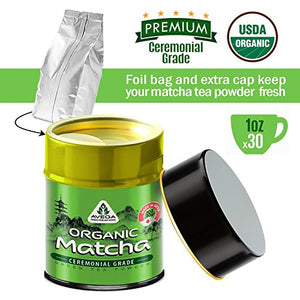 Matcha Green Tea Powder - [USDA Organic] Japanese Ceremonial Grade - Best Antioxidant 100% Pure [30g - 1oz] Original Powerful Energy Booster Distinctly Top Superfood Uji Imported Great hot N cold Brew