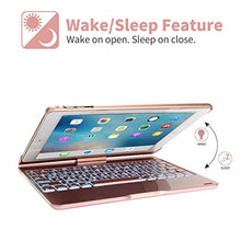 "Load image into Gallery viewer, Keyboard Case iPad 2018 9.7"" (6th Gen) - iPad 2017 (5th Gen) - iPad Pro 9.7"" - iPad Air 1 2, 360° Rotatable 7 Color Backlit Keyboard Auto Wake/Sleep (Rose Gold)"