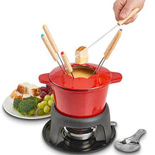 Load image into Gallery viewer, VonShef Fondue Set with 6 Fondue Forks, Stylish Cast Iron Porcelain Enamel Fondue Pot Makes All Styles of Fondue Such as Cheese and Chocolate, 1.6 QT Capacity, Red, 12pc Set