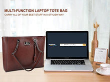 Load image into Gallery viewer, Laptop Bag for Women,15.6 in Spacious Laptop Tote Soft PU Leather Lightweight Multi-Compartment Work Tote with Comfortable Widen Straps