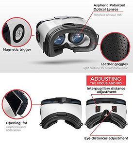 "VR Headset - Virtual Reality Goggles by VR WEAR 3D VR Glasses for iPhone 6/7/8/Plus/X & S6/S7/S8/Note and Other Android Smartphones with 4.5-6.5"" Screens - Infinity"