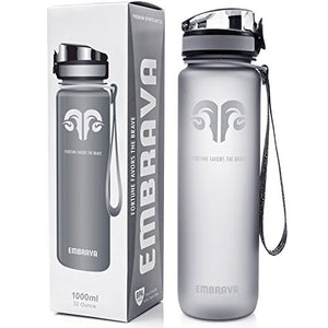 Embrava Best Sports Water Bottle - 32oz Large - Fast Flow, Flip Top Leak Proof Lid w/One Click Open - Non-Toxic BPA Free & Eco-Friendly Tritan Co-Polyester Plastic