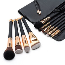 Load image into Gallery viewer, Fancii Professional Makeup Brush Collection, 12pcs Set High End Cosmetic Brush, Cruelty Free Synthetic Bristles for Foundation Blending Powder Blush Eye Shadow, Travel Leather Clutch, Rose Gold