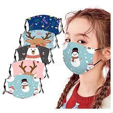 Load image into Gallery viewer, Christmas Face_Masks for Kids,5Pcs Reusable and Children Protective Face Bandanas with Cute Pattern for Kids, Breathable and Anti-Haze Dust