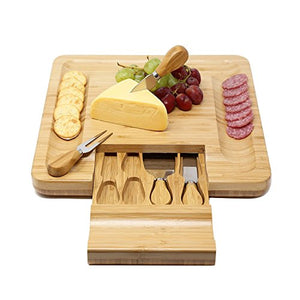 Bamboo Cheese Board With Slide Out Drawer And Cutlery Utensils, 5 Piece Set
