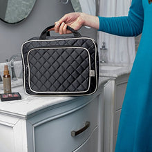 Load image into Gallery viewer, Ellis James Designs Large Travel Toiletry Bag for Women with Hanging Hook, Black, Big Wash Bags - Hair Dryer Case - Multi-use Toiletries Kit Cosmetics Makeup XL Bathroom Organizer Suitcase Luggage
