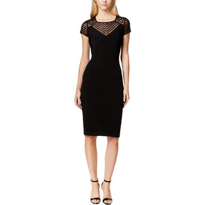 Calvin Klein Womens Petites Cap Sleeve Above Knee Party Dress Black 8P