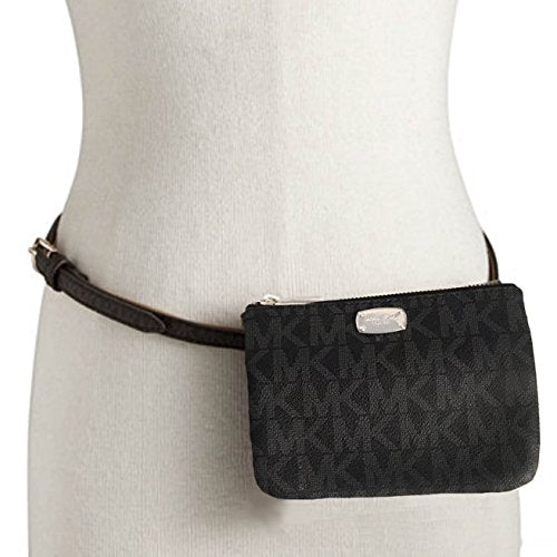 Michael Kors MK Signature Belt Wallet Fanny Pack, Travel Leather Medium