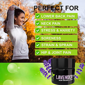 Hemp Pain Relief Cream (250mg) Natural Hemp Extract Lavender Lotion Moisturizing Hemp Oil Lotion for Back Pain, Neck Pain, Joint Pain, Muscle Pain Fast Acting Inflammation Cream (Lavender)
