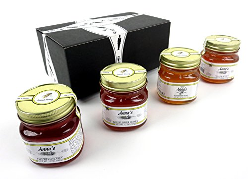 Anna's Gourmet Raw Honey 4-Flavor Variety: One 12 oz Jar Each of Blackberry, Clover, Wildflower, and Fireweed in a BlackTie Box (4 Items Total)