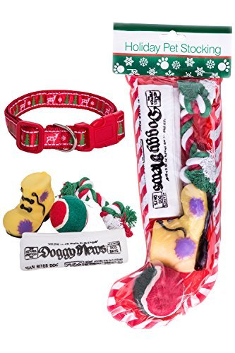 Stockings for Dogs + Christmas Dog Collar Bundle Includes 4 Dog Toys Large Collar Perfect Pet Christmas Gift