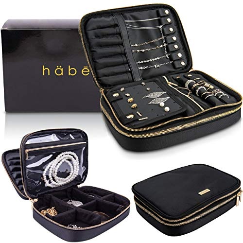 Habe Travel Jewelry Organizer Case | Truly Tangle-Free | Space-Saving Jewelry Storage Bag | Small Travel Jewelry Box Holds The Most - 12 Pair Earrings, 7 Necklaces, Adjustable Dividers, Large Pocket