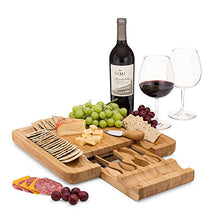 Load image into Gallery viewer, Bamboo Cheese Board With Slide Out Drawer And Cutlery Utensils, 5 Piece Set