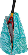 Load image into Gallery viewer, LISH Advantage Tennis Racket Backpack - Women's Geometric Diamond Print Tennis Racquet Holder Bag (Teal)