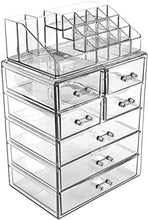 Load image into Gallery viewer, Sorbus Cosmetic Makeup and Jewelry Storage Case Display - Spacious Design - Great for Bathroom, Dresser, Vanity and Countertop (3 Large, 4 Small Drawers, Clear)