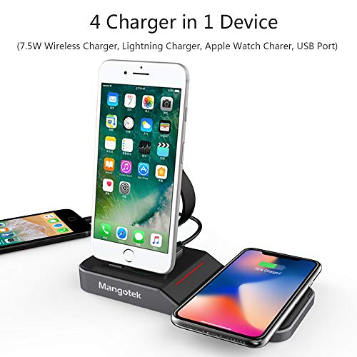 los angeles e445b 4a64a Mangotek Apple Watch Stand Wireless Charger for iPhone and iWatch, 4 in 1  Phone Charging Station with Lightning Connector and USB Port for iPhone ...