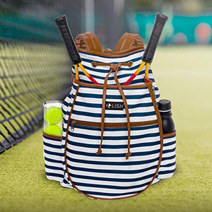 LISH Down The Line Canvas Tennis Racket Backpack - Women's Striped Print Drawstring Racquet Holder Bag (Navy Stripe)
