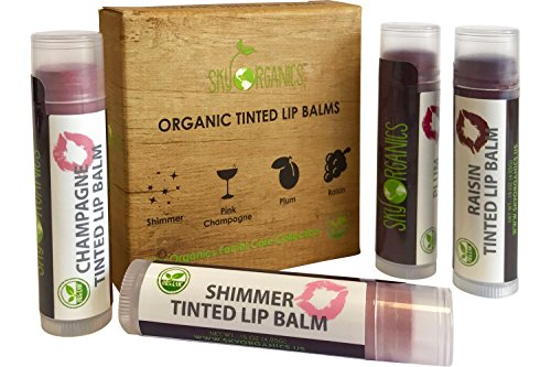 Organic Tinted Lip Balm by Sky Organics – 4 Pack Assorted Colors