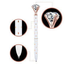 Load image into Gallery viewer, 3 Pcs Rose Gold Pen with Big Diamond/Crystal ,Metal Ballpoint Pen,Rose Gold/Silver Office Supplies,Black Ink (3pcs) (RR-12-19-9)