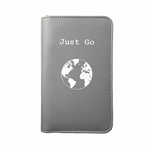 Phone Charging Passport Holder -Multiple Variations with Upgraded Power Bank- RFID Blocking - Travel Wallet Compatible with All Phones - Travel Accessories (Gray)