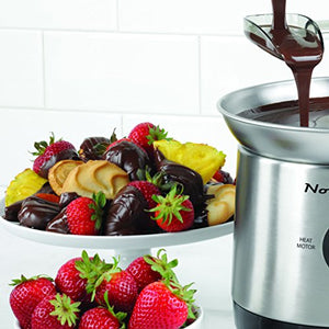 Nostalgia CFF1000 Chocolate/Bib Ranch/Nacho Cheese/Buffalo Sauce Cascading Fondue Fountain, 2 lb Stainless Steel