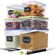 Load image into Gallery viewer, Chef's Path Large Food Storage Containers - Great for Flour, Sugar, Baking Supplies - BEST Airtight Kitchen & Pantry Bulk Food Storage - BPA Free - 6 PC Set & 8 FREE Chalkboard Labels & Pen